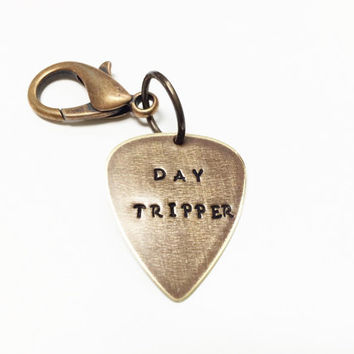 "The Beatles Metal Guitar Pick ""Day Tripper"" Keychain, Vintaj Hand Stamped"