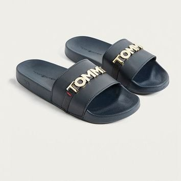 Tommy Jeans Black Metal Logo Pool Sliders | Urban Outfitters