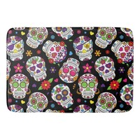 Colorful Sugar Skulls On Black Bath Mats