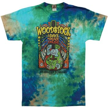 Woodstock Men's  Woodstock Music Festival Tie Dye T-shirt Multi