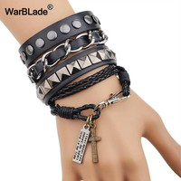 WarBLade New Black Men Genuine Leather Bracelet Hippie Style Rivet Braided Bracelets Bangle Punk Wrap Wristband For Male Jewelry