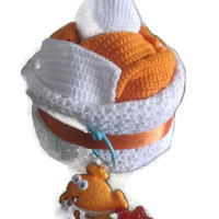 Unisex Baby Shower Newborn Diaper Cake with Accessories White and Orange Free Shipping Unique Handmade Gift