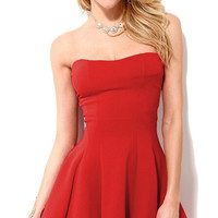 Solid Strapless Party Fit Flounce Mini Dress