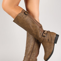 Cross Strap Back Round Toe Knee High Boot