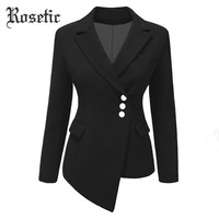Rosetic Gothic Women Blazer Women Plus Size Black Blazer Mujer Women Blazers And Jackets 2018 Blazer Women Slim Short Suit Coat