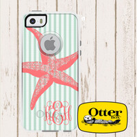 Personalized Monogrammed Otterbox Commuter Case iPhone 5c, iPhone 5/5s, iPhone 6 Galaxy 5s Seersucker with Starfish