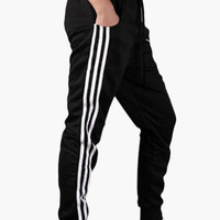 Plaid Side Stripe Pocket Sweatpants