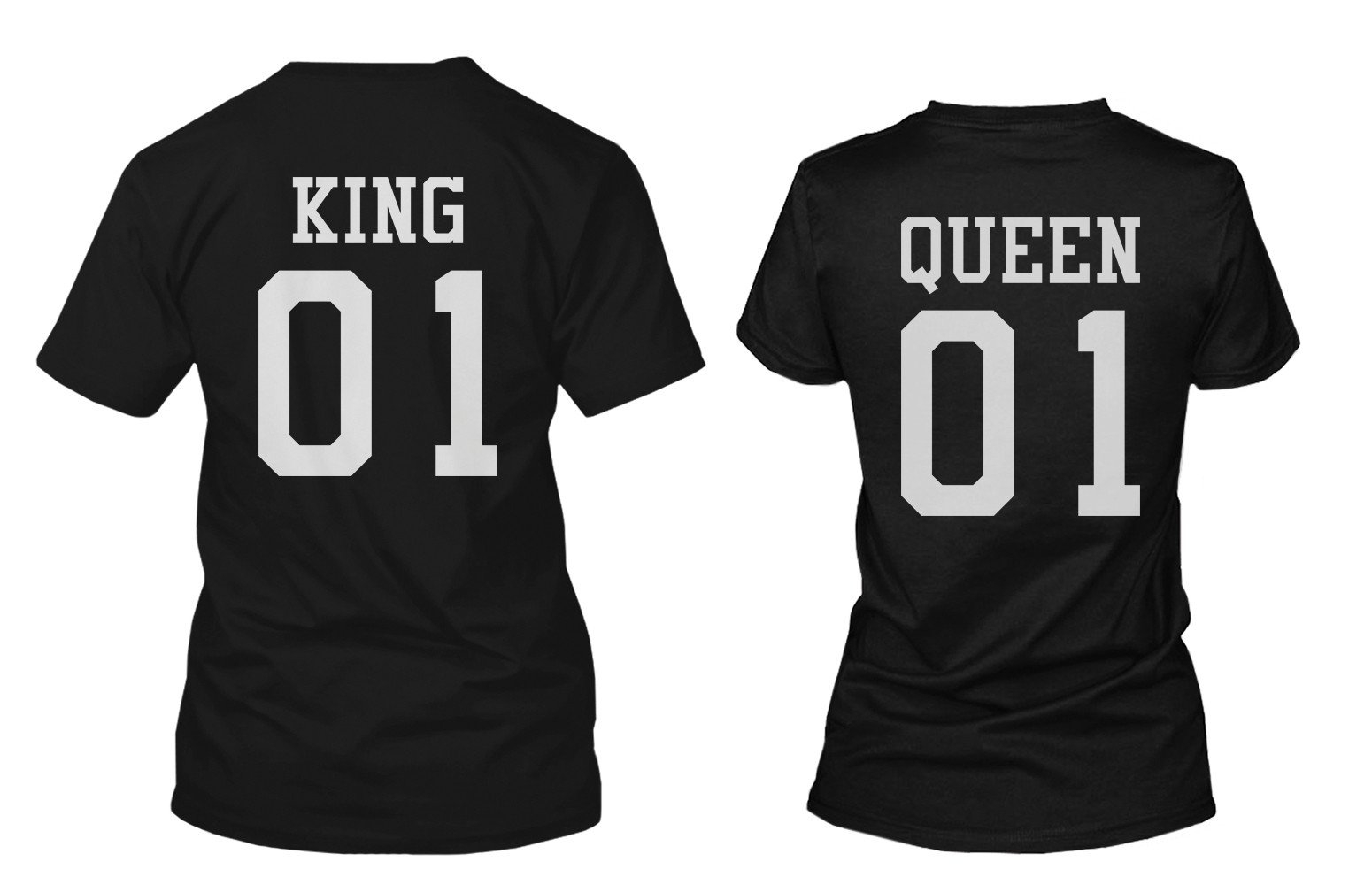 Image of King 01 and Queen 01 Back Print Couple Matching T-Shirts Valentine's Day Gifts Ideas