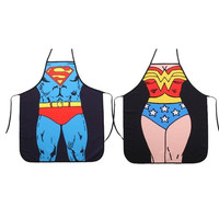 Superman + Wonder Woman Anime Cartoon Hero Character Series Modern Family 2pcs Apron Couple Kitchen Aprons Barbecue/bbq Apron = 1930044164