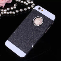 Black Shinning Rhinestone Bling Bling Apple Logo Window Luxury Phone Back Cover Case for iPhone 4 4s 5 5s 6 6s 6 Plus 6s Plus