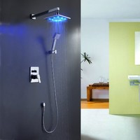 Sprinkle Color Changing LED Shower Faucet with Wall Mount Square 8 Inch Fixed Shower Head Handheld Shower Head Shower System with Shower Arm and Holder Single Handle Lavatory Plumbing Fixtures Ceramic Valve Included