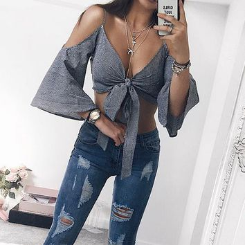 Bear Shoulder Spaghetti Straps Bowknot Straps Sexy Crop Top