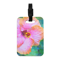 """Sylvia Cook """"Hibiscus"""" Green Pink Decorative Luggage Tag"""