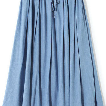Sky Blue Drawstring Waist Dress