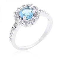 Bella Birthstone Engagement Ring In Blue (size: 07)