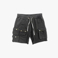 French Terry Cargo Shorts in Washed Black