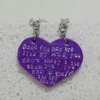 Best Friend Necklaces Good Friends are like Stars Set of 2 Necklaces Purple Polymer Clay Jewelry Made To Order