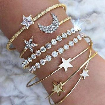 Diamond Crystal Moon & Stars Open Cuff Bracelet Set
