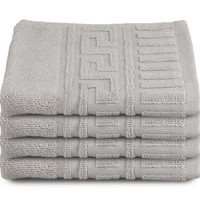 Espalma Greek Key Washcloths, Silver, Set of 4, Washcloths