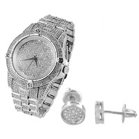 Men's Iced Out Techno Pave Watch & Matching Earrings Combo Set