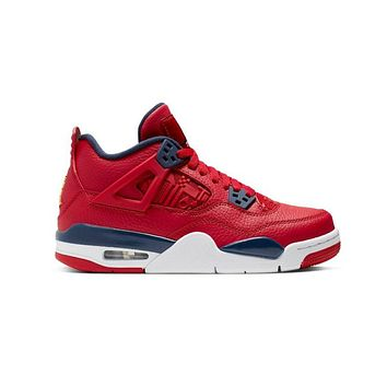 Air Jordan Big Kid's 4 IV Retro GS FIBA Gym Red Obsidian Basketball Shoes