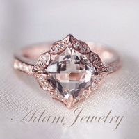 Floral Design 7mm VS  Morganite Ring 14K Rose Gold Diamonds Wedding Ring /Engagement Ring/ Promise Ring/ Anniversary Ring