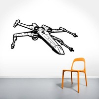 Wall Decals Star Wars Xwing X-Wing Fighter Children Nursery Room Office Window Wall Vinyl Decal Stickers Bedroom Murals