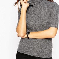 ASOS Turtle Neck Top In Textured Rib With Short Sleeve at asos.com