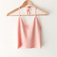 Halter V-neck Crop Top - Pink