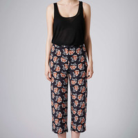 Navy Floral Wide Leg Trousers by Bo...