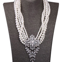 Silver Floral Crystal Faux Pearl Necklace