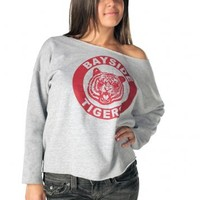 Saved by the Bell Kelly Kapowski Bayside Tigers Off the Shoulder Gray Juniors Sweatshirt