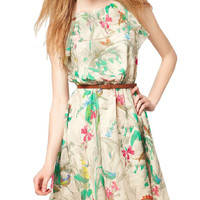 Floral Sleeveless Belted Mini Dress
