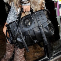 Black Skull Rivet Patchwork Clutch Handbag with Detachable Strap