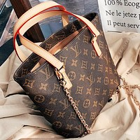 LV New fashion monogram print leather chain shoulder bag crossbody bag Coffee