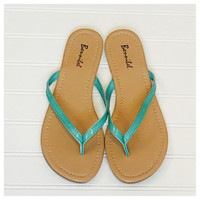 INSANITY CLOSEOUT! Forever Faithful Classic Strap Mint Flip Flops, Sandals