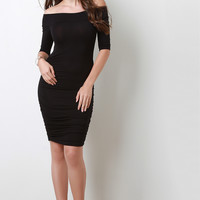 Ruched Off Shoulder Elbow-Length Sleeves Midi Dress