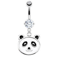 Cute Panda Enamel Belly Button Ring 316L Surgical Steel 14g Dangle Navel Ring
