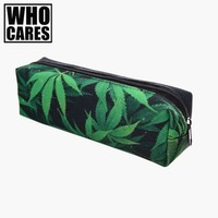 Space weed green 3D Printing pencil case women cosmetic bag fashion who cares school bags organizer pouch travel neceser makeup