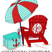 Southern Couture Beach Chair Cooler Umbrella Anchor Comfort Colors White Girlie  Bright T Shirt