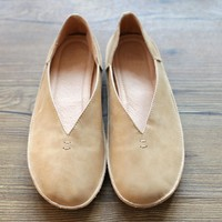 Handmade Soft Leather Round Toe Loafer Flats Pumps Beige