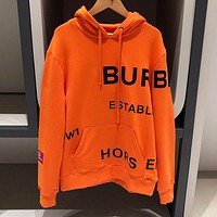 BURBERRY Autumn Winter New Men Women Casual Print Hoodie Velvet Sweater Sweatshirt Top Orange