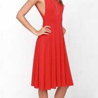Red V Shape Back Sleeveless Mid Dress