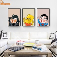 Batman Dark Knight gift Christmas COLORFULBOY Batman Superman Canvas Wall Art Cartoon Posters And Prints Pop Art Canvas Wall Pictures For Living Room Home Decor AT_71_6