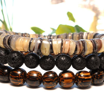 Men's Bracelet Set with Lava, Shell and Palm Wood