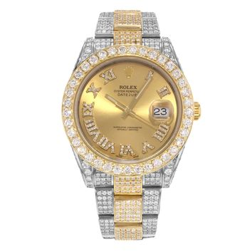 Rolex Datejust 41 Steel & 18K Yellow Gold & Custom Diamonds 16CTTW Men's Watch