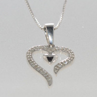 """925 Sterling Silver Diamond Heart Necklace, 16"""" chain - .11ct"""