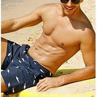 Fashion Casual Men Drawstring Waist Shark Print Swim Trunks