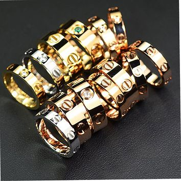 """Cartier"" Stylish Ladies Men Ddelicate Diamond Ring Lovers Lovely Rings Rhinestone Ring I"