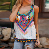 Hot Popular Summer Floral Printed Floral Printed Spagehetti Strap Sleeveless Top Women Tank Vest _ 12746